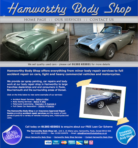 We provide Hamworthy Body Shop with Bookkeeping and web design services