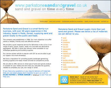 We provide Parkstone Sand and Gravel with Bookkeeping and web design services